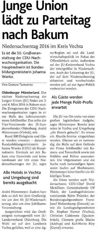 JU KV VEC Artikel.Berichterstattung JU NDT16 OV Titelseite